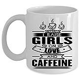 N\A Lindo Regalo para la Taza de café de mi Hija, elevo a Las niñas en el Amor y la Taza de cafeína (Taza de café - Blanco)