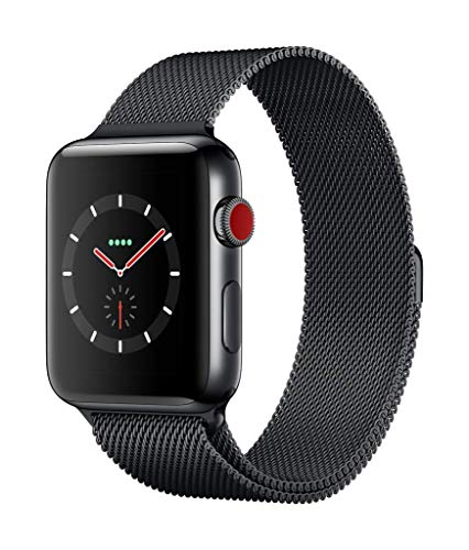 Apple Watch Series 3(GPS + Cellularモデル)- 42mmスペースブラックステンレススチールケースとスペースブ...