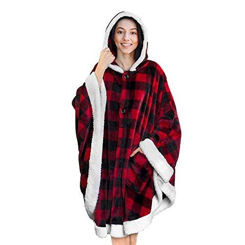 Groust Manta con capucha de gran tamaño, sudadera, suave, cálida, cómoda, manta portátil para adultos, hombres, mujeres, adolescentes, niños, talla única