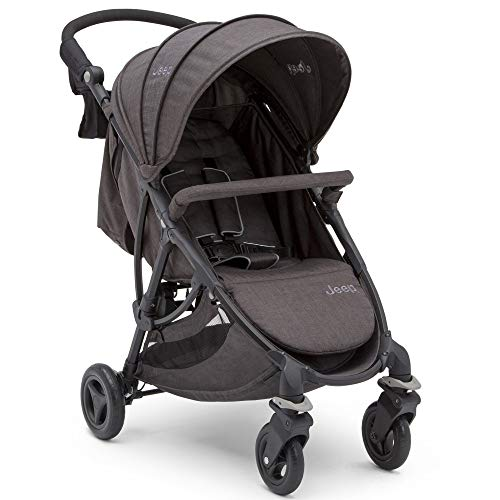 Jeep Gemini Stroller by Delta Children - Full of Features: Easy One-Hand Fold, Recline, Lightweight, Oversized Canopy, 2 Cup Holders, Shock Absorbing Frame, Grey Tweed