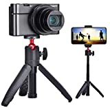 Mini Selfie Stick Extendable Handheld Tripod 2 in 1,Compatible with Various Action Cameras and iPhone/Samsung/Google Smartphone Clamp for Selfie Travel Vlogging, 1/4' Inch Screw Mount Ballhead Tripod
