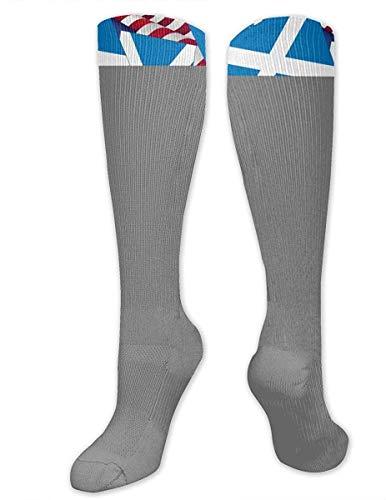 NA Heren & Vrouwen Casual Knie High Tube Sokken Mid-Calf Sokken Kostuum Cosplay Sokken Meisjes Nieuwigheid Sokken, Schotland Vlag Met Amerika Vlag