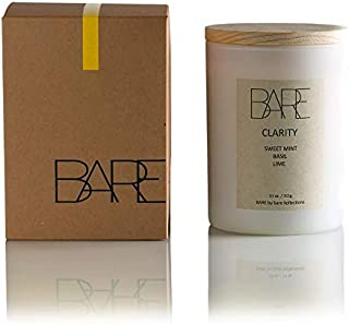 Bare Kollections Clarity Candle Scented - Sweet Mint, Lime & Basil, Premium All-Natural Soy Wax Blend - Fall Candle, Gift Candle for Women, Long Burning, Minimalist Luxury Bathroom Candle, 11 ounces