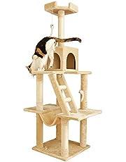 アイリスプラザ キャットタワー 据え置き型 ハンモック おもちゃ付き 高さ155cm