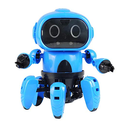 Robot DIY Creativo De 6 Patas del Robot RC Infrarrojos Evitación De Obstáculos Gesto De Control del Transmisor con Programable Animación Infantil (Color : Blue, Size : 28x23x8cm)