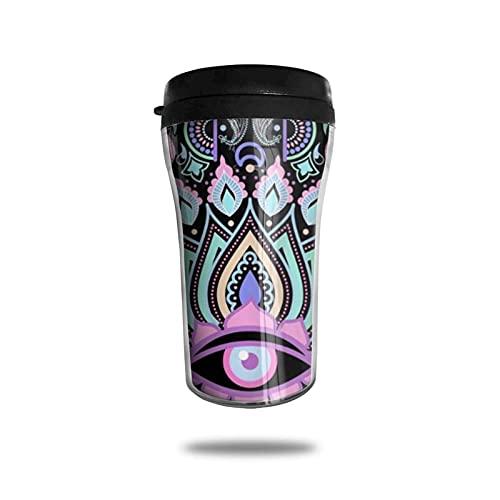 Taza de café de viaje Mandala de meditación de la mano de Fátima de Hamsa Taza de vacío portátil de grado alimenticio Taza aislada ABS Anti-Derrame 250ml
