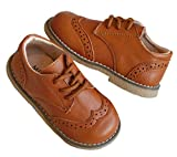 DADAWEN Boy's Girl's Classic Lace-Up Uniform Oxford Comfort Dress Shoes Loafer Flats (Toddler/Little Kid) Brown US Size 5 M Toddler