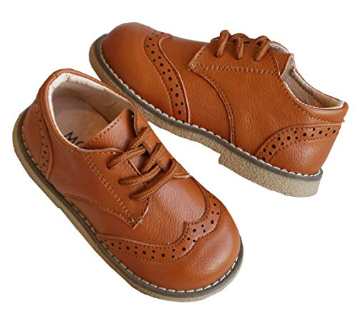 DADAWEN Boy's Girl's Classic Lace-Up Uniform Oxford Comfort Dress Shoes Loafer Flats (Toddler/Little Kid) Brown US Size 7 M Toddler