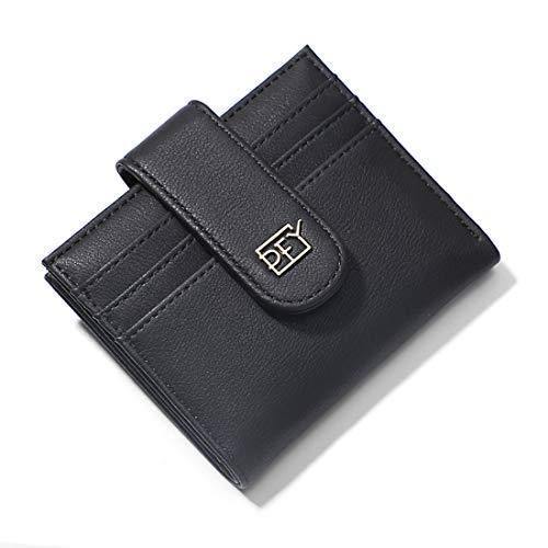 Tarjetera Pequeña de Mujer para Tarjeta de Crédito, Mini Cartera Slim Billetera de la Moda con 1 Ranura de Efectivo, 10 Ranuras para Tarjetas, 1 Bolsillo con Cremallera para Moneda (Negro)