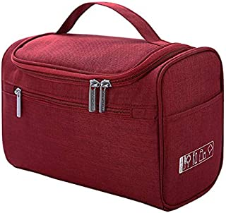 SODIAL Cosmetic Bag Double Zipper Women Cosmetic Case Travel Organizer Portable Beautician Essential Ladies Makeup Bags Package Red