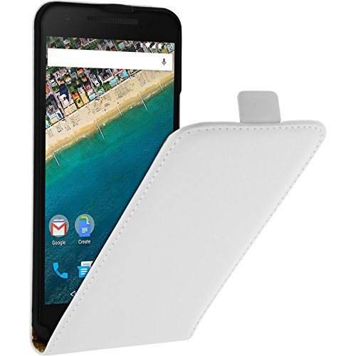 PhoneNatic Kunst-Lederhülle kompatibel mit Google Nexus 5X - Flip-Hülle weiß + 2 Schutzfolien