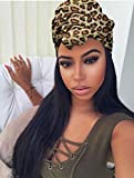 Long Straight Hair Wigs with Per-attached Leopard Print Scarf 22' Sliky Straight Synthetic Hair Headband Wigs Black Wig Long Straight Wig for Women