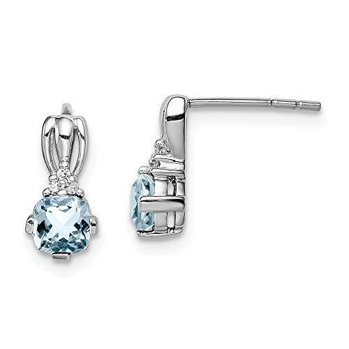 Pendientes de poste redondos de plata de ley 925 chapados en rodio con diamante de aguamarina