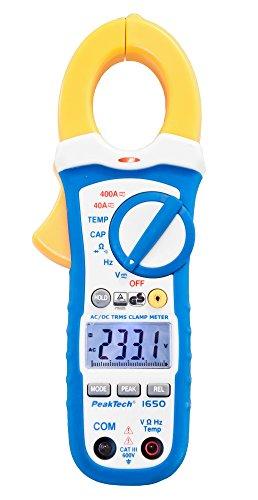 PeakTech 1650 – Pinza amperimétrica RMS 400A AC DC, multímetro digital, TUV GS, pinza de corriente 4000 cuentas, voltímetro sin contacto, medición de corriente, probador de continuidad - Máx 600 V