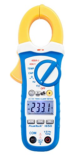 PeakTech 1650 – True RMS Stromzange 400A AC/DC, Digital Multimeter, Zangenmessgerät, TÜV/GS, Strommesszange, 4000 Counts, Berührungsloser Spannungsmesser, Strommessgerät, Durchgangsprüfer - Max. 600 V
