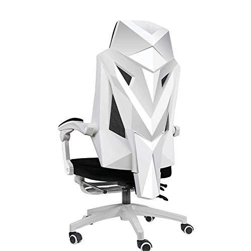 Silla de oficina giratoria con lazo, ergonómica para el hogar, sillón reclinable, silla de ocio y conferencia Retro Size blanco
