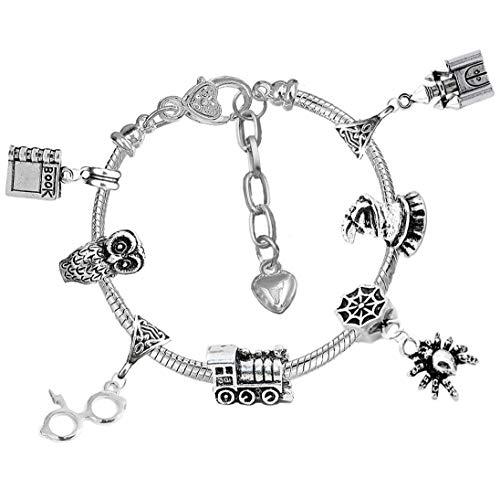 Wizard Witch Magic Silber Charm Armband mit Geschenkbox Damen Mädchen Schmuck