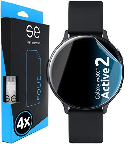 [4 Stück] 3D Schutzfolien kompatibel mit Samsung Galaxy Watch Active 2 (44mm), durchsichtige HD Bildschirmschutz-Folie, Schutz vor Dreck & Kratzern, kein Schutzglas - smart Engineered