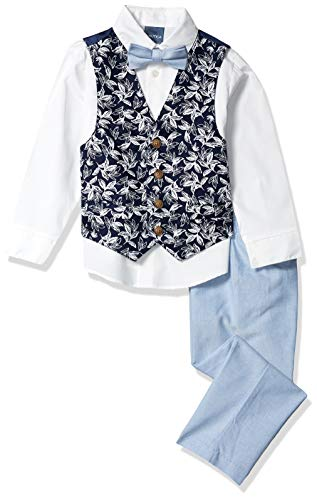 Nautica Boys' Toddler 4-Piece Set with Dress Shirt, Bow Tie, Vest, and Pants, Tropical Blue Flag, 3T
