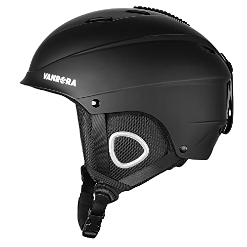 VANRORA Ski Helmet, Snowboard Helmet, Climate Control Venting, Dial Fit, Goggles Compatible, Removable Fleece Liner and Ear Pads, Safety-Certified Snow Helmet for Men & Women (Black, M)