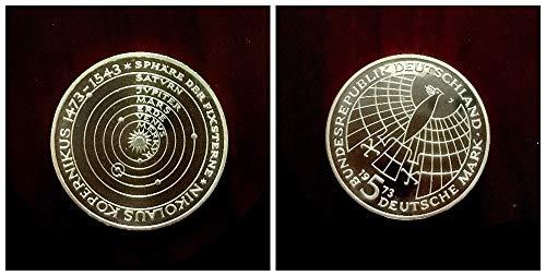 Deutschland (1973) 5 DM Silbermünze - 500. Geburtstag von Nikolaus Kopernikus, 625er Silber