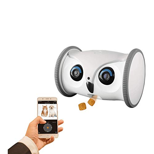 SKYMEE Owl Robot: Mobile Full HD Pet Camera with Treat Dispenser, Interactive Toy for Dogs and Cats, Remote Control via App (2.4G WiFi ONLY)