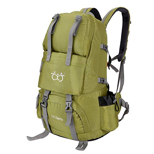 Hiking backpack 40L with rain cover travel camping waterproof backpack for women men (Green)