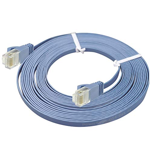 MOHAMED Cable de LAN de Red Ethernet Plano Ultrafino CAT6, Longitud: 50m (Azul)
