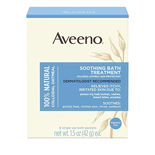 Aveeno Soothing Bath Treatment with 100% Natural Colloidal Oatmeal for Treatment & Relief of Dry, Itchy, Irritated Skin Due to Poison Ivy, Eczema, Sunburn, Rash, Insect Bites & Hives, 8 ct (1 Pack)