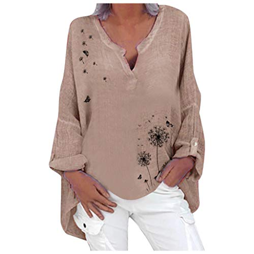 Great Deal! AHUIGOYCE Plus Size V Neck Shirts Long Sleeve Loose Fitting Warm Tee Tops Pullover Sweat...