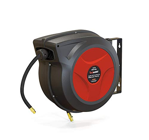REELWORKS Air Hose Reel Retractable Spring Driven Polypropylene Heavy Duty Industrial 3/8' x 50 FT Long Premium Commercial Flex Hybrid Polymer Hose MAX 300psi for Air Compressor/Water