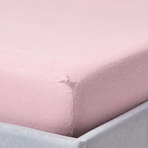 "HOMESCAPES Pink Brushed Cotton Fitted Sheet 45 cm (18"") Extra Deep Super King 100% Cotton Portuguese Flannel Luxury Soft 170 GSM Flannelette Bedding with Fully Elasticated Skirt"