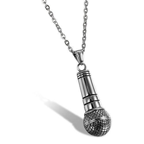 Flongo Collana Hip Hop pendente microfono per uomo, Collana in acciaio inox ciondolo originale punk rock style, Regalo di Natale/San Valentino