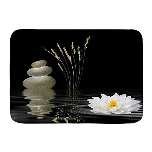 Throwpillow Alfombrilla De Baño Antideslizante Piedras Calientes Zen Stone con Reflejo de Flor de Loto asiática en el Agua Alfombra Lavable a Máquina