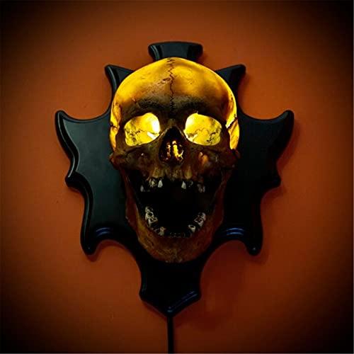 WFLWLHH Calaveras De Luces De Halloween, Lámpara De Calavera, Decoración De Pared Luminosa, 7.87 Pulgadas, Lámpara De Esqueleto, Manualidades De Resina, Funciona con Pilas.