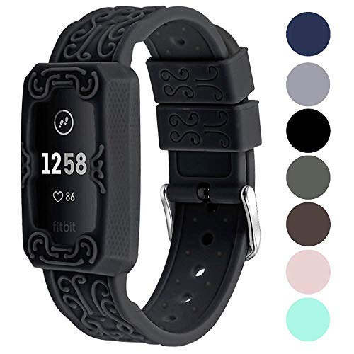 Sports Band for Fitbit Charge 3/ Charge 3 SE/Charge 4 Bands, VOMA Adjustable and Breathable Soft Silicone Replacement Accessory Waterproof Wristbands for Women Men Small Large Black