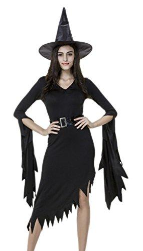 Bigood Femme Déguisement Cosplay Sorcière Robe Asymétrie Diablsse pour Halloween M