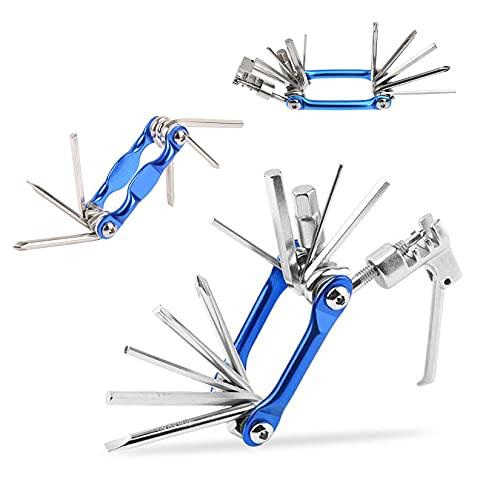 Multiherramienta 11 en 1 para reparación de bicicletas, miniherramienta plegable multifunción, herramienta de reparación de bicicletas, con llave Allen, herramientas de emergencia (azul)