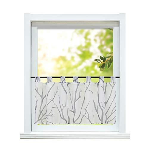 ESLIR Scheibengardine modern Bistrogardine Küche Gardinen Transparent Vorhänge mit Schlaufen Kurzgardine Voile Weiß-Grau HxB 60x90cm 1 Stück