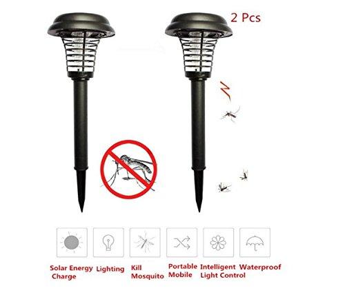 Lutte contre les rongeurs 2 PCS Tueur de Moustique Lampe UV LED Solar Powered Bug Zapper Lumière Anti-Mosquito Extérieur Tueur d'insecte pour Jardin, Patio, Pelouse, Bâton dans le Sol