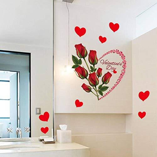Gudojk Muurtattoo hart rood roze muursticker decoratie voor thuis woonkamer slaapkamer badkamer keuken tattoos muurschild zelfklevende folie