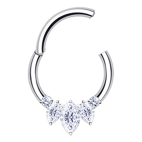 ThrowBackAnnie | Khaleesi Crystal Septum Ring | Fancy Cartilage Oorbellen Scharnierend Helix Hoop Sparkly Daith Piercing | Blijf Sassy dit seizoen