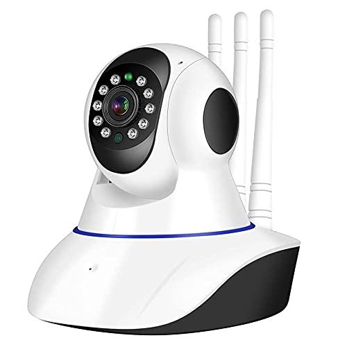 1080p Cámara HD 3MP Monitor De Bebé De 3MP Cámara De Vigilancia Para El Hogar WiFi Audio Inalámbrico Inalámbrico De Dos Vías Con Función De Visión Nocturna CCTV Video Video Cámara De Vigilan(Color:白色)