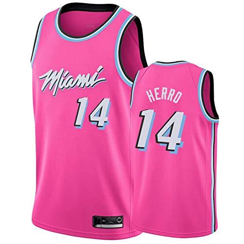 BXWA-Sports Miami Heat NBA Jersey # 14 Tyler Herro Retro Camisetas de Baloncesto sin Mangas cómodo de Malla Bordado Fresco y Transpirable de Tela Unisex,Rosado,L