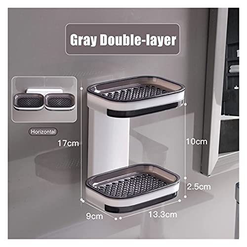 WZWHJ Clean and tidy Drainable Soap Dish Fit For Bathroom Portable Soap Holder Wall Storage Rack Organizer Bathroom Accessories Double Layer Holder Exquisite (Color : 2Gray) (Color : 2gray)