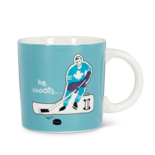 Abbott Collection He Shoots - Taza gráfica, Color Azul