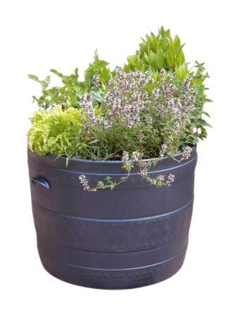 Olive Grove Stewart - Baquet de Jardin en matière Plastique, Largeur 40 cm - Baquet pour terrasse Coloris Noir - 2559036