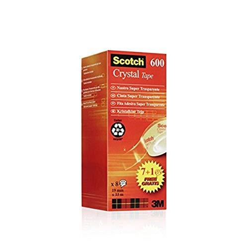 Scotch 6-1933R8 - Rollos de cinta adhesiva (19 mm x 33 m, 8 unidades), transparente