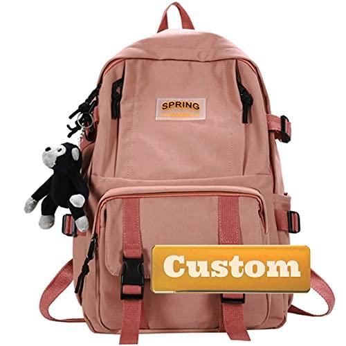 Fireh. Nome personalizzato Personalizzato Leggero Scuola leggera Kid Casual Backpack Borsellino Kid Pack Daypack (Colore : Rosa, Dimensione : Taglia unica)