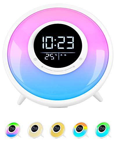 Sunrise Wake Up Light Alarm Clock for Heavy Sleepers, White Noise Sleep Sound Machine, FM Radio, 11 Colors Night Light with Sleep Timer /21 Sounds /Dual Alarm /Snooze/Child Lock/Temperature Display